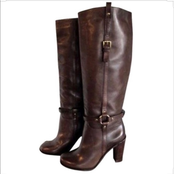 COACH Ellie Equestrian Riding Brown Leather Boots